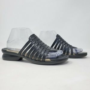 Dansko Slip On Black Leather Thong Sandal